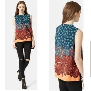 Topshop Paisley Print Sleeveless Top Orange Blue 4